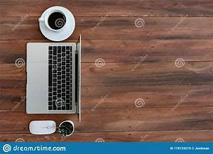 Top, View, Of, Computer, Laptop, And, Coffee, Cup, On, Wooden, Desk, For, Work, From, Home, Editorial, Stock