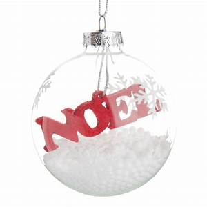 Boule De Neige Noel : boule de no l en verre rouge blanche 7 cm flocon de neige ~ Zukunftsfamilie.com Idées de Décoration