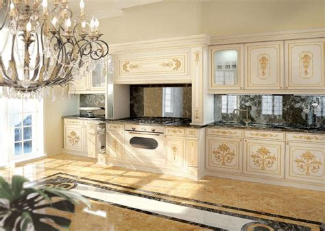 classic luxury white lacquered kitchen  gold