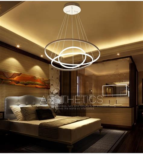 fashional dinning room modern chandeliers circle rings led
