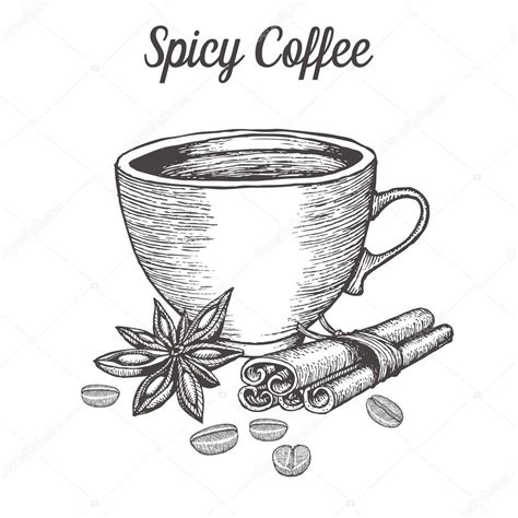 Supremo, java, cup of joe, espresso, macchiato, fresh ground, and more flavors of vector coffee illustrations than you'll know what to do. Coffee cup with spice, bean, cinnamon, star anise. Natural organic caffeine drink. Hand drawn ...