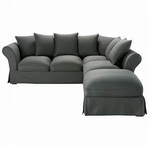 canape d39angle convertible 6 places en coton gris ardoise With canapé d angle maga meuble