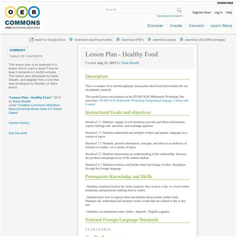 lesson plan healthy food oer commons