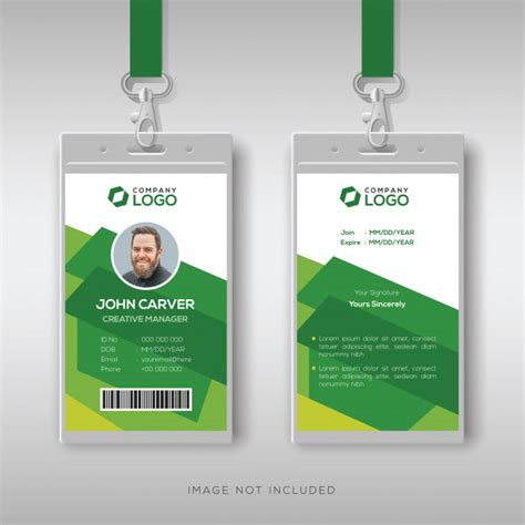 creative id card template  abstract green background