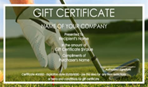 golf gift certificate templates easy   gift