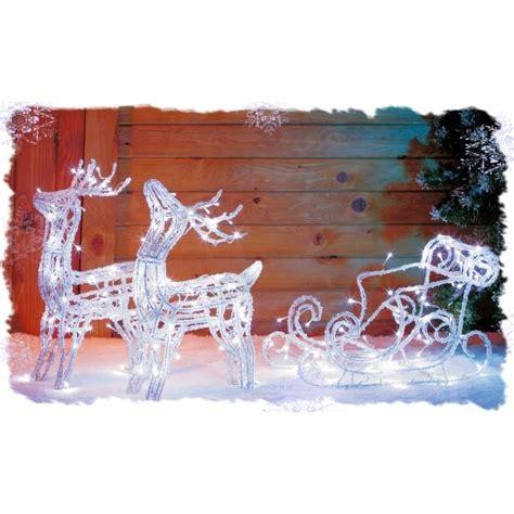 traineau avec 2 rennes acrylique lumineux achat vente guirlande d exterieure traineau avec