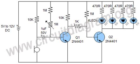 Sensitive Sound Activated Led Flasher Circuit Diagram