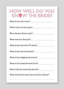 Trivia Questions For Bridal Shower by Diy Printable Shower Game Bride Quiz 12 00 Via Etsy
