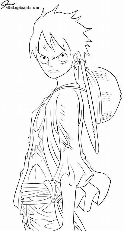 Piece Luffy Lineart Coloriage Anime Desenho Volume