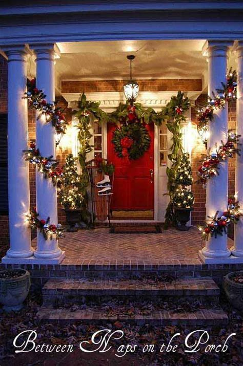 decorating porch columns for christmas 40 cool diy decorating ideas for christmas front porch amazing diy interior home design