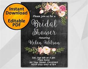 editable bridal shower invitation chalkboard invitation With etsy wedding invitations instant download