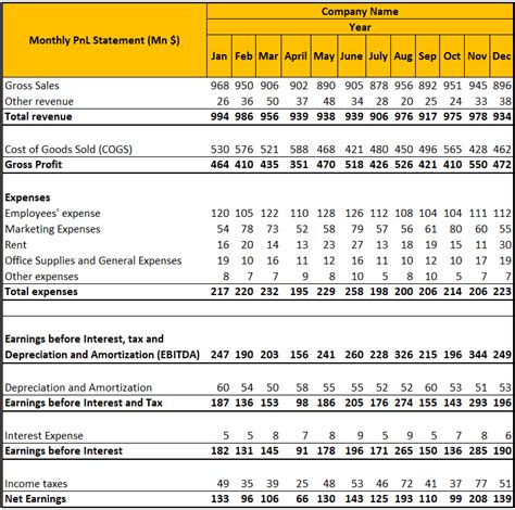 profit loss statement template annual monthly pl