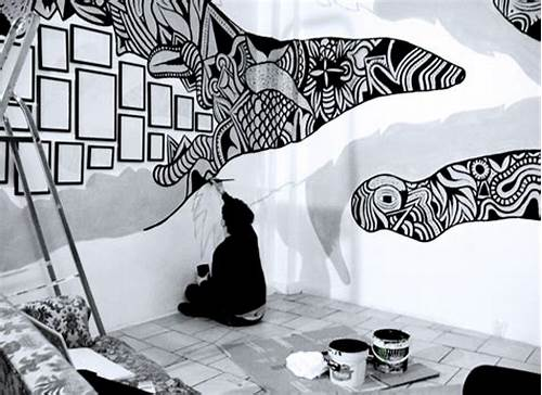 The Walls Are Painted In Black #Murals