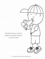 Coloring Pages Sick Germs Spreading Kid Germ Preschool Worksheets Child Colouring Printable Mouth Sheets Crafts Health Toddlers Healthy Sharing Kindergarten sketch template