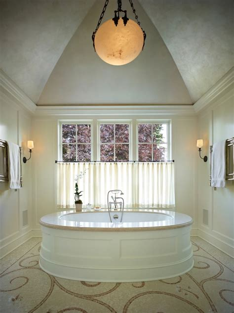 narrow master bathroom  barrel ceiling crystal