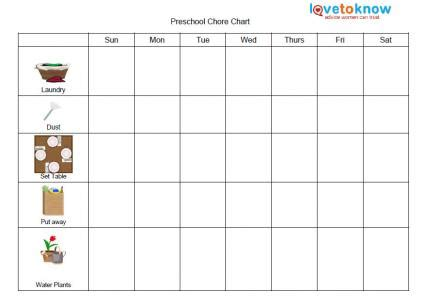 printable chore charts for lovetoknow 749 | 148822 425x307 preschool chore chart
