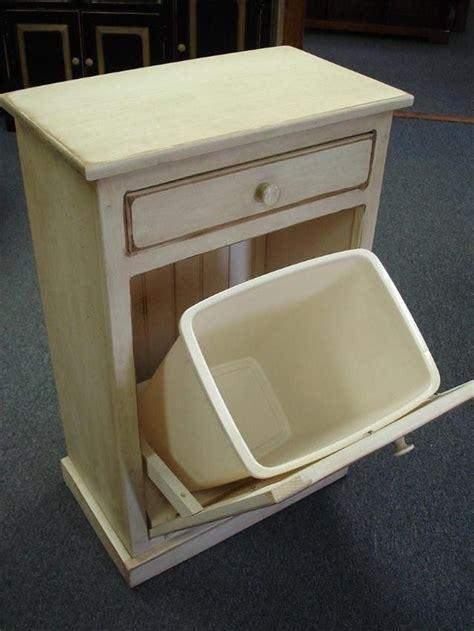 amish pine tilt  trash bin cabinet   drawer