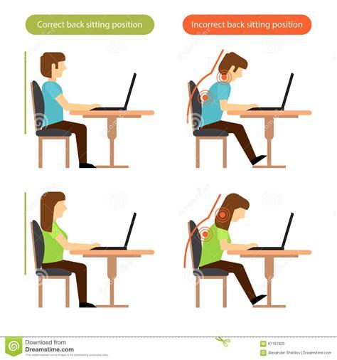 bonne posture au bureau richtige und falsche hintere sitzposition am arbeitsplatz