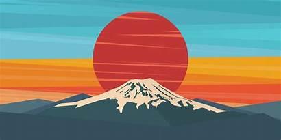 Fuji Sunset Vector Windows Mt Illustration 4k