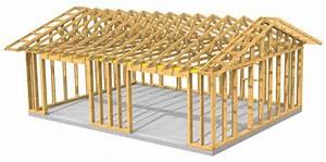 plan garage ossature bois pour un garage deux places With plan de petite maison 11 construction dun abri voiture et transformation du garage
