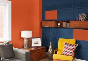 Bleu Et Orange : osons la couleur dans le salon elle d coration ~ Nature-et-papiers.com Idées de Décoration