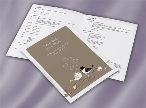 bride groom love birds ceremony mass booklet wedding print