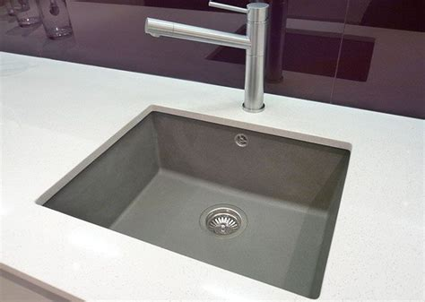 quartz countertop with undermount sink polished square undermounted sink silgranite grey with