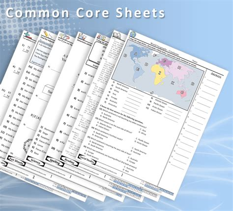 free common core sheets a great resource for math science language arts and social