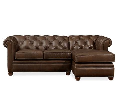 chaise chesterfield chesterfield leather sofa with chaise sectional pottery barn