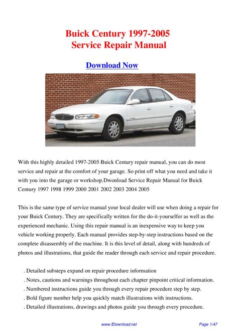 2001 Buick Century Manual by Buick Century 1997 2005 Service Repair Manual By Giler