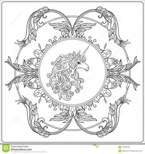 unicorno nel telaio arabesque nello stile reale e medievale ou illustrazione vettoriale