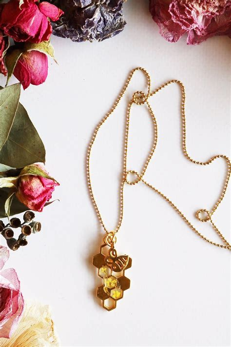 bee charm necklace yellow floral necklace jewelry