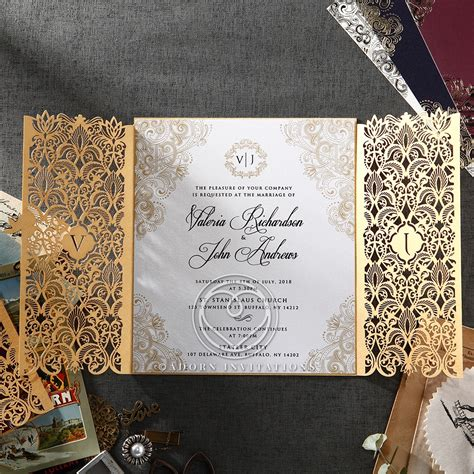 gold foil  ivory gatefold wedding invitation laser cut