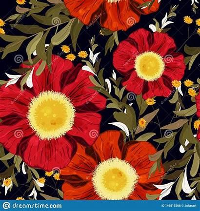 Watercolour Seamless Drawn Colorful Retro Orange Flowers