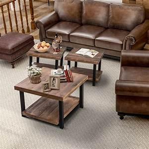 Harper, U0026bright, Designs, Industrial, Pine, Wood, Coffee, Table, 3-piece, Set, Rustic, Design
