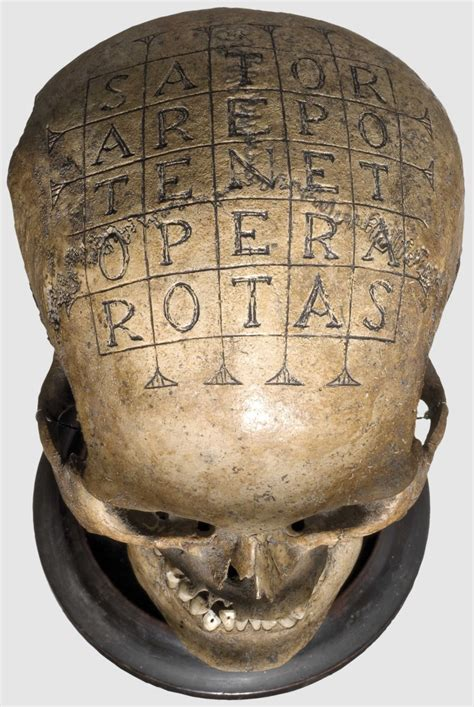 Christopher nolan's tenet is a mysterious movie. - hominisaevum: 16/17th Century skull with Sator...
