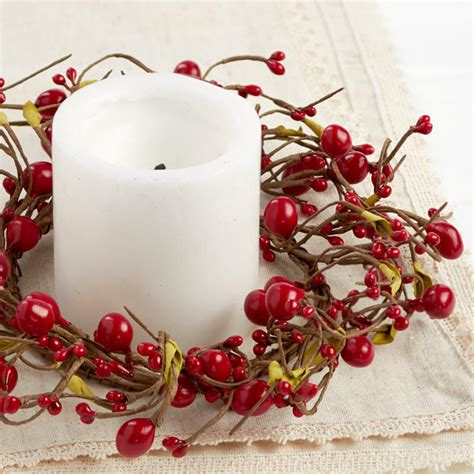 candle ring snow red berries berry candle ring pip berries primitive decor