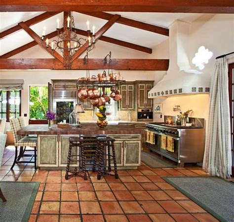 saltillo tile ceiling beams window amazing stove hood chandelier hanging copper pots
