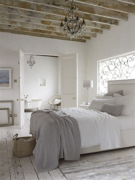 white and gray rustic country bedroom distressed wood