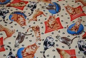 231 Retro Kitty Cat Kitten Paw Print Cotton Fabric Quilt ...