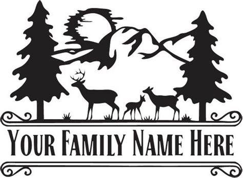 large vinyl monogram deer family scene split monogram