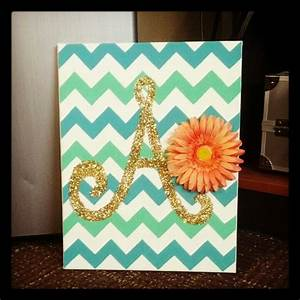 diy chevron canvas with glitter initial so adorable With letter canvas