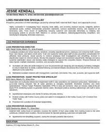 retail loss prevention manager resume exle loss prevention resume free sle