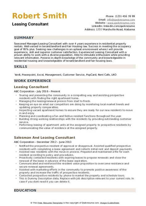 Leasing Consultant Resume Sle by Leasing Consultant Resume Sles Qwikresume