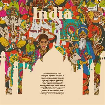 India Cultural Poster Symbols Vector Illustration Religion