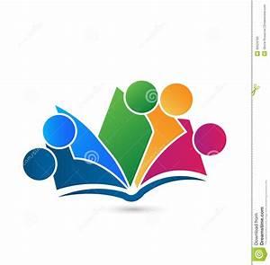 Teamwork Book Logo Vector Education Stock Vector - Image ...