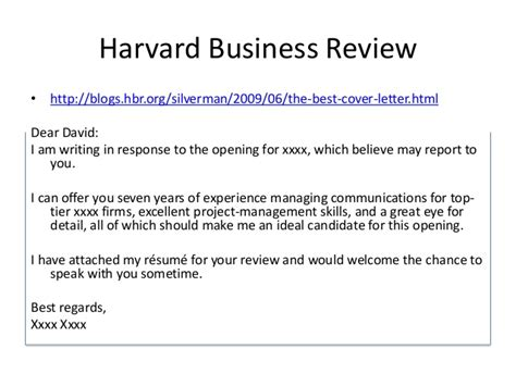 harvard business review resume summary cover letter workshop