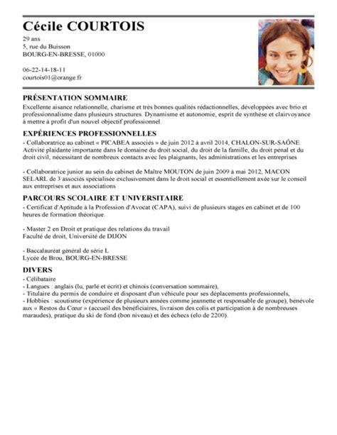 Cv En Franàçais Exemple by Exemple De Cv Avocat Exemples Mod 232 Les De Cv