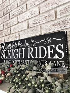North, Pole, Reindeer, Company, Sleigh, Rides, Christmas, Rustic, Wood, Sign, Etsy, Homedecor