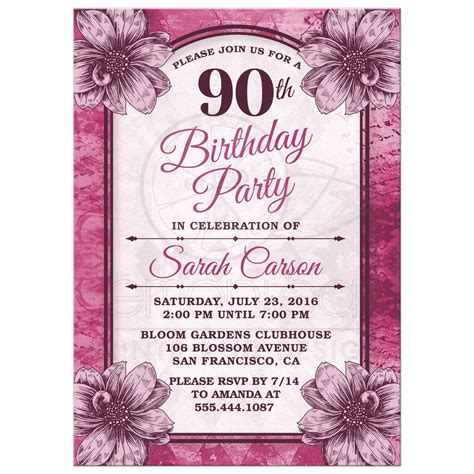 90th Birthday Party Invitations Templates Free in 2019